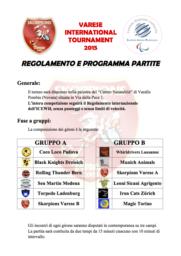 Regolamento e programma 2° Varese International Tournament